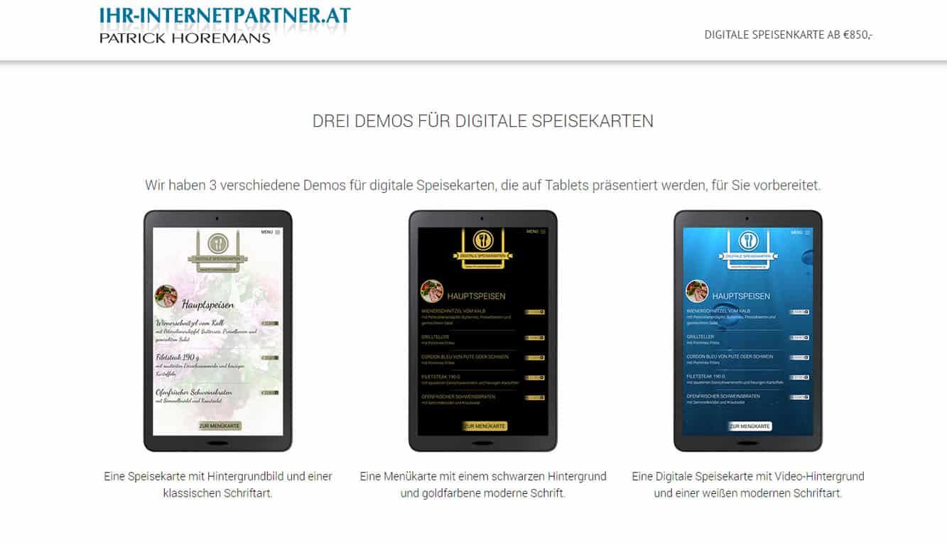 Digitale Speisekarten